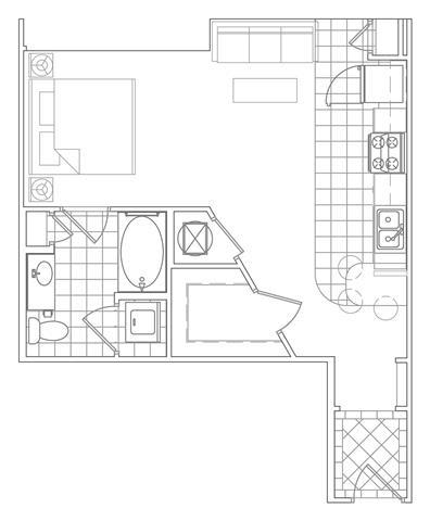 Floor Plan  Studio, 1 Bath 569 SF S2D