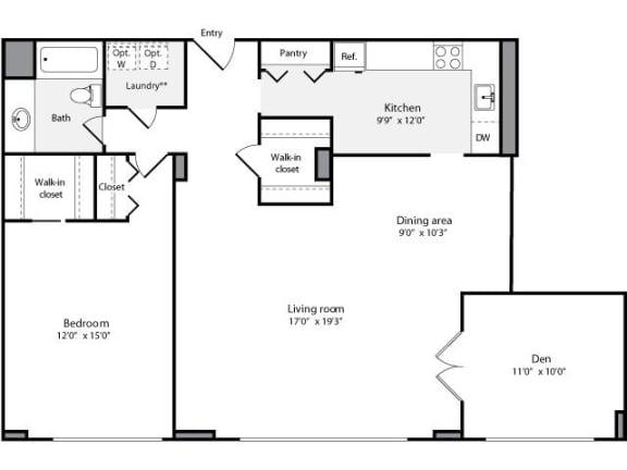 Floor Plan  1 Bedroom, 1 Bath + Den 1184 SF 1D1B