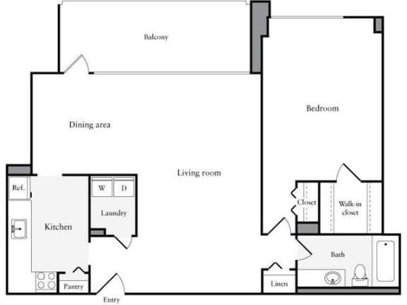 Floor Plan  1 Bedroom, 1 Bath 888 SF 11a