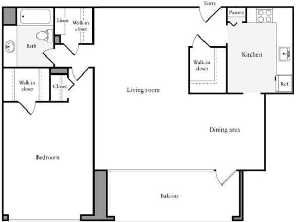 Floor Plan  1 Bedroom, 1 Bath 912 SF 11b