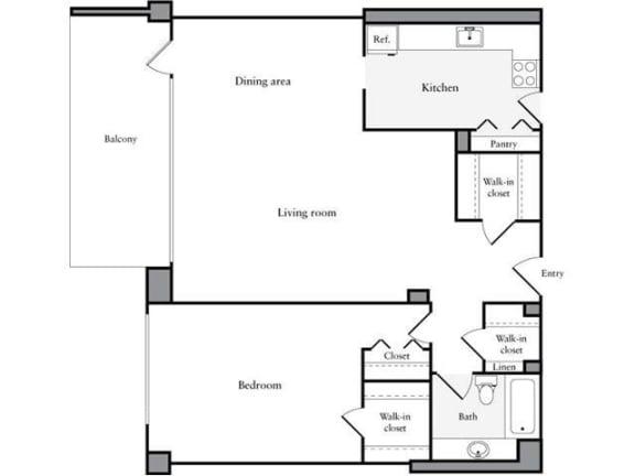 Floor Plan  1 Bedroom, 1 Bath 938 SF 11g