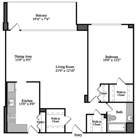 Floor Plan  1 Bedroom, 1 Bath 952 SF 11j