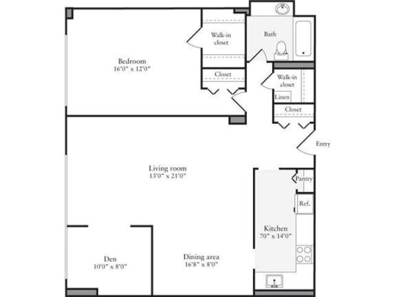 Floor Plan  1 Bedroom, 1 Bath + Den 957 SF 1D1