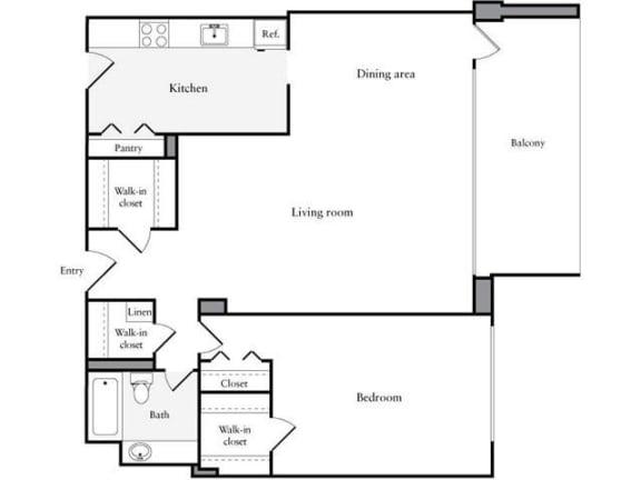 Floor Plan  1 Bedroom, 1 Bath 969 SF 11l
