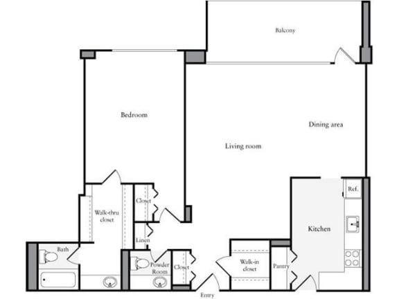 Floor Plan  1 Bedroom,, 1 Bath 969 SF 11w