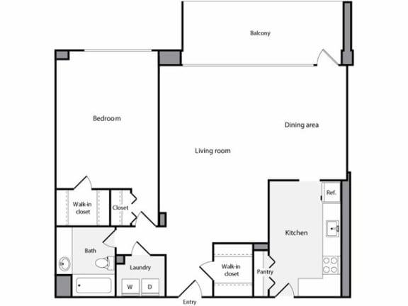 Floor Plan  1 Bedroom, 1 Bathroom 969 SF D