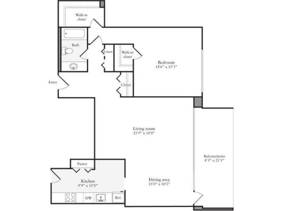 Floor Plan  1 Bedroom, 1 Bath 972 SF 11m