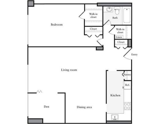 Floor Plan  1 Bedroom, 1 Bath  + Den 975 SF 1D1A