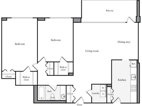 Floor Plan  2 Bedroom, 1 Bath 1223 SF 21a