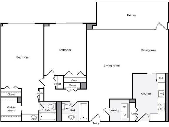 Floor Plan  2 Bedroom, 2 Bath 1246 SF 22