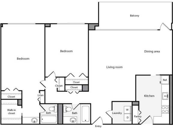 Floor Plan  2 Bedroom, 2 Bath 1269 SF 22a