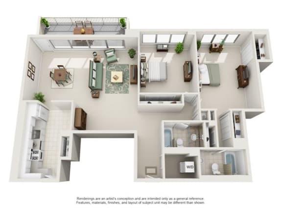 Floor Plan  2 Bedroom, 2 Bath 1293 SF 22b