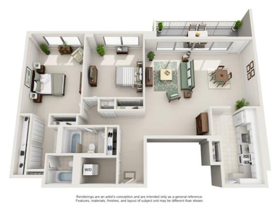 Floor Plan  2 Bedroom, 2 Bath 1293 SF 22c