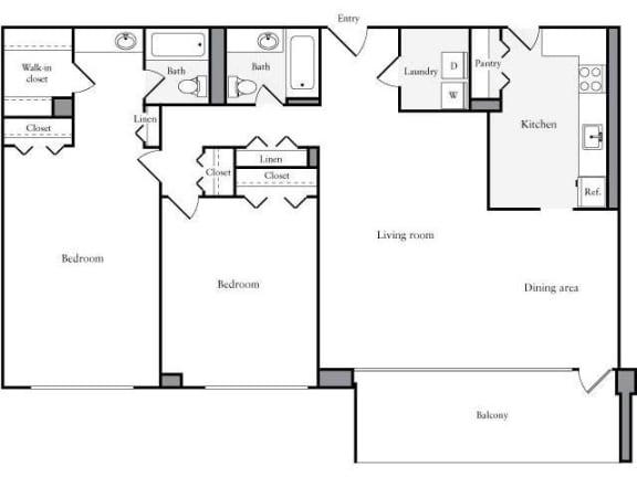 Floor Plan  2 Bedroom, 2 Bath 1300 SF 22d
