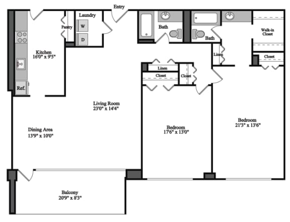 Floor Plan  2 Bedroom, 2 Bath 1310 SF 22e