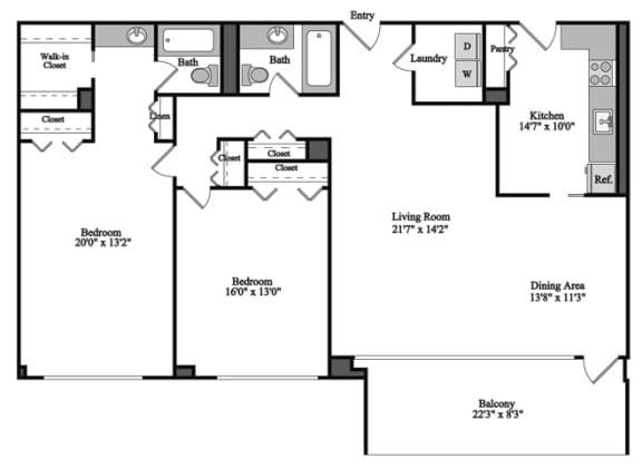 Floor Plan  2 Bedroom, 2 Bath 1323 SF 22g