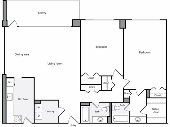 Floor Plan  2 Bedroom, 2 Bath 1334 SF 22h