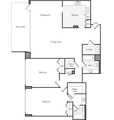 Floor Plan  2 Bedroom, 2 Bath 1396 SF 22i