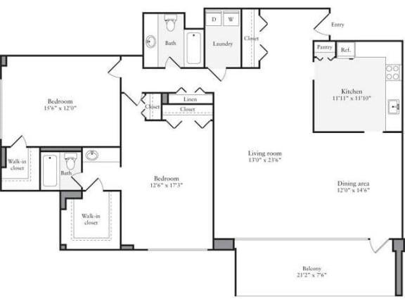 Floor Plan  2 Bedroom, 2 Bath 1457 SF 22j