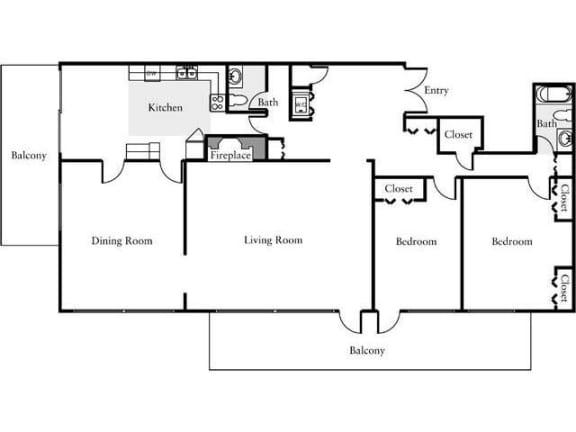 Floor Plan  2 Bedroom, 1 Bath 1970 SF 215