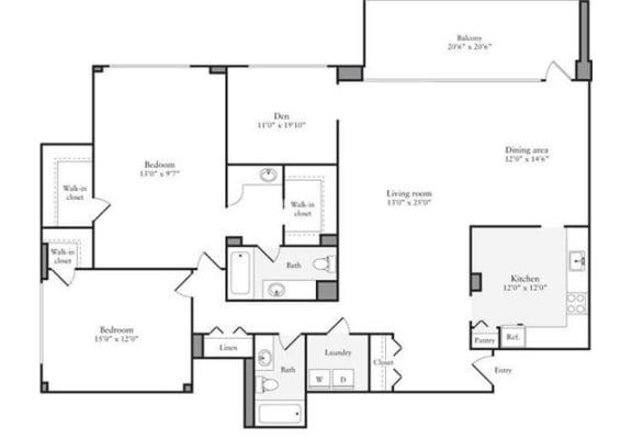 Floor Plan  2 Bedroom + Den, 2 Bath 1600 SF 2d2