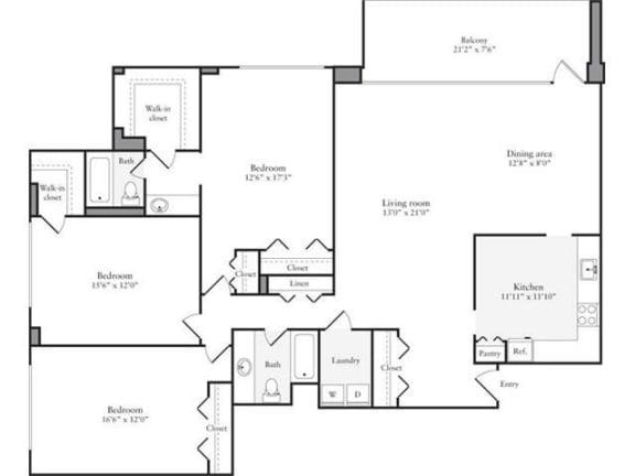 Floor Plan  3 Bedroom, 2 Bath 1725 SF 32a