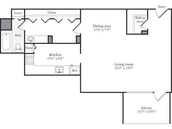 Floor Plan  Studio, 1 Bath 628 SF 01a