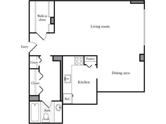 Floor Plan  Studio, 1 Bath 673 SF 01f