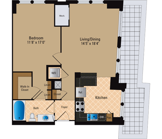 Floor Plan  1 Bedroom, 1 Bath 858 SF A11