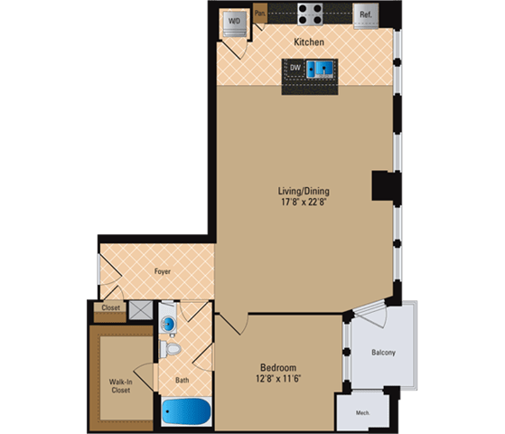 Floor Plan  1 Bedroom, 1 Bath 1008 SF A15