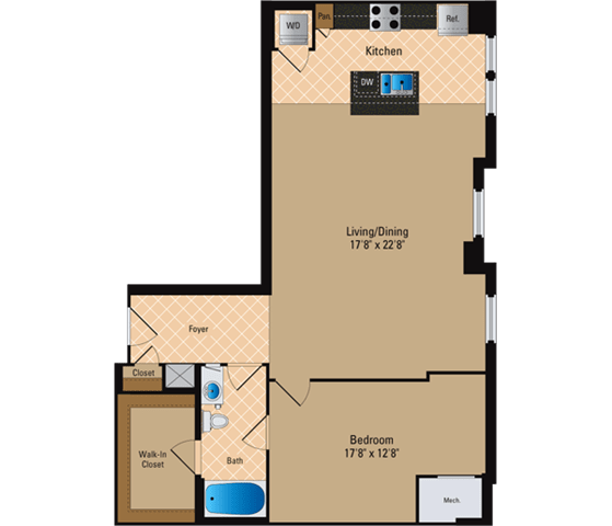 Floor Plan  1 Bedroom, 1 Bath 1038 SF A16