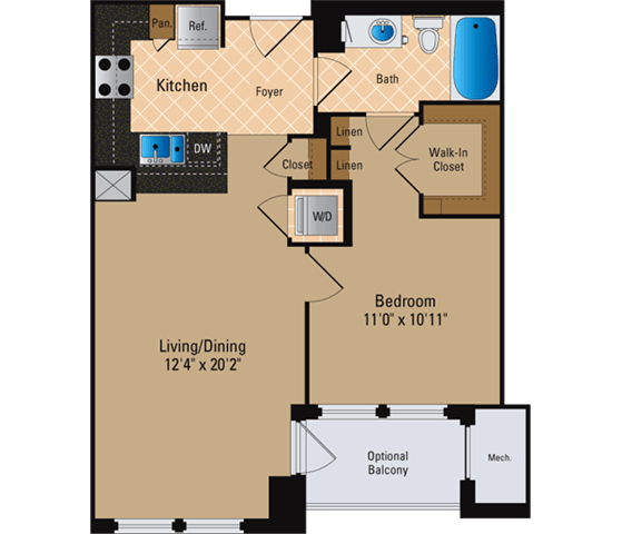 Floor Plan  1 Bedroom, 1 Bath 693 SF A1