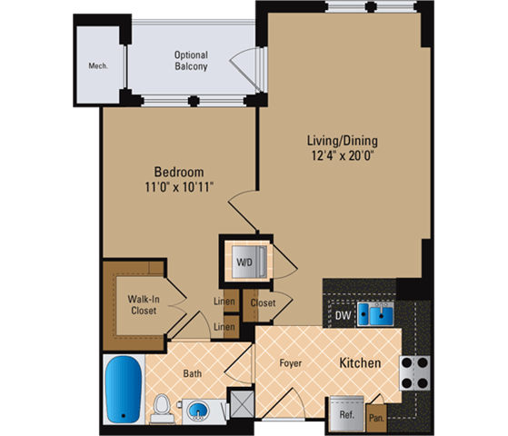 Floor Plan  1 Bedroom, 1 Bath 700 SF A2