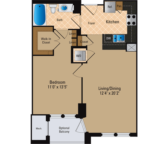 Floor Plan  1 Bedroom, 1 Bath 729 SF A3