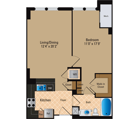Floor Plan  1 Bedroom, 1 Bath 762 SF A5