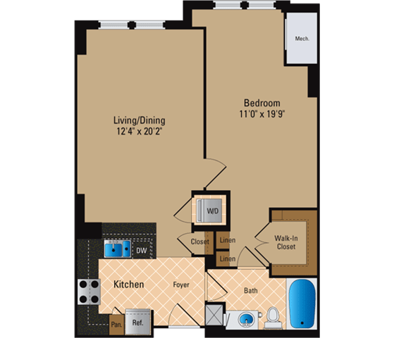 Floor Plan  1 Bedroom, 1 Bath 777 SF A6