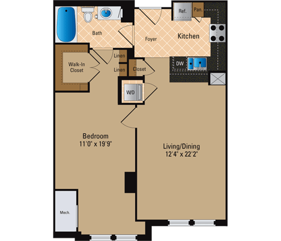 Floor Plan  1 Bedroom, 1 Bath 777 SF A7