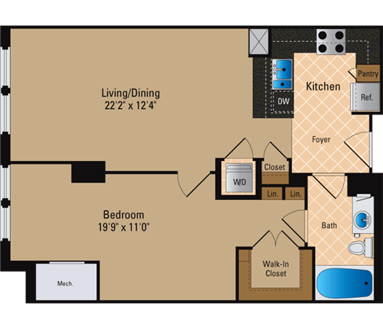 Floor Plan  1 Bedroom, 1 Bath 793 SF A8