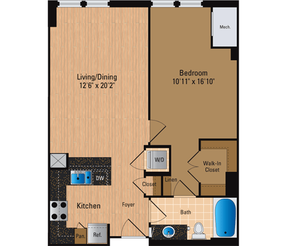 Floor Plan  1 Bedroom, 1 Bath 751 SF A9P1