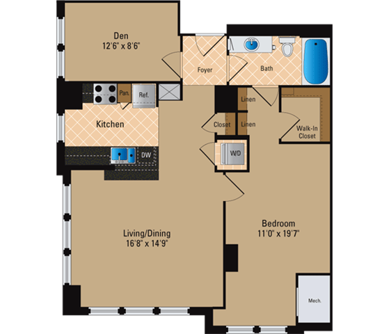 Floor Plan  1 Bedroom + Den, 1 Bath 980 SF AD5