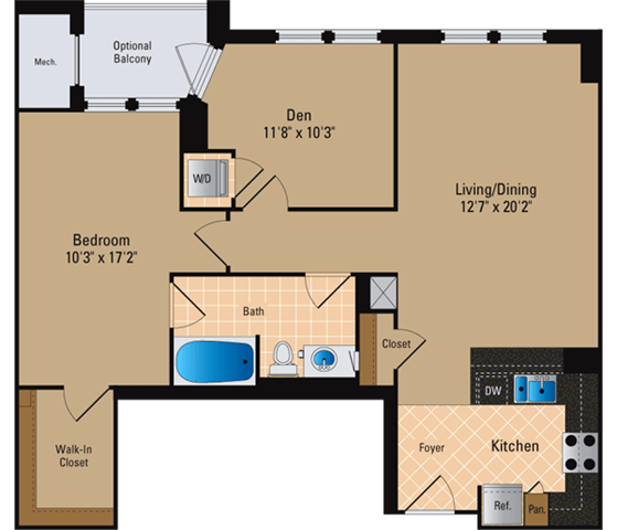Floor Plan  1 Bedroom + Den, 1 Bath 986 SF AD6