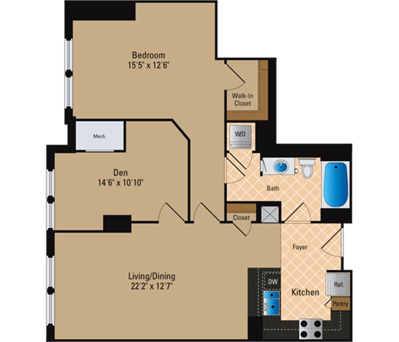 Floor Plan  1 Bedroom + Den, 1 Bath 1005 SF AD8