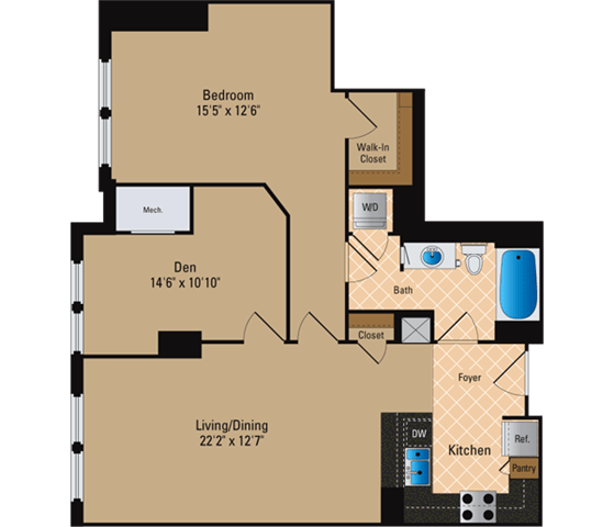 Floor Plan  1 Bedroom + Den, 1 Bath 1005 SF AD9
