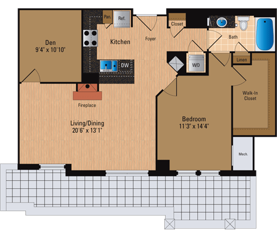Floor Plan  1 Bedroom + Den, 1 Bath 962 SF ADP4