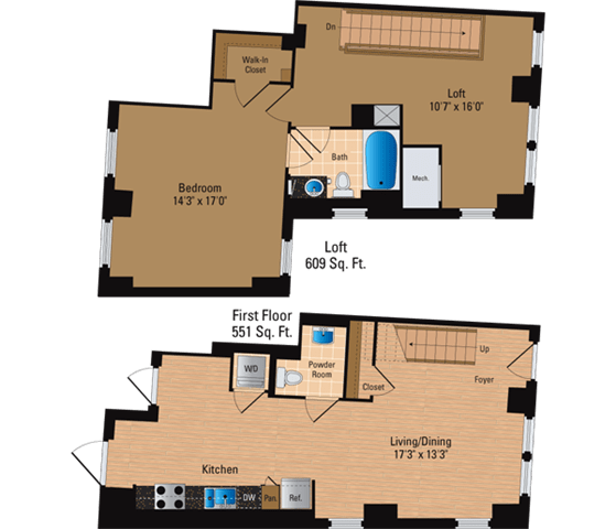 Floor Plan  1 Bedroom + Loft, 1 Bath 1160 SF AL2
