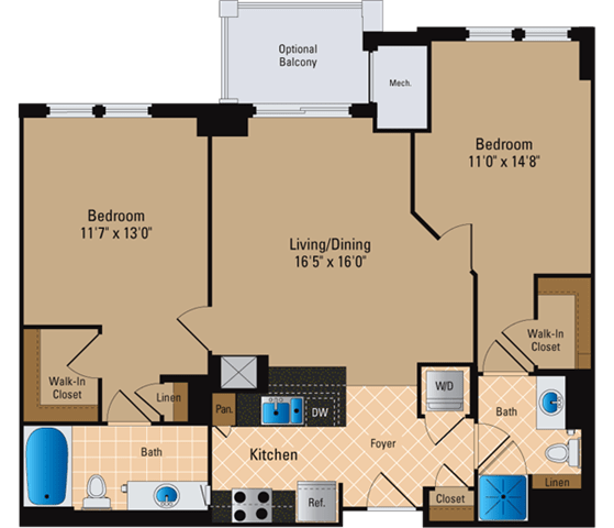 Floor Plan  2 Bedroom, 2 Bath 1027 SF B1