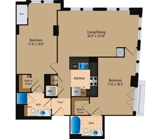 Floor Plan  2 Bedroom, 2 Bath 1163 SF B21