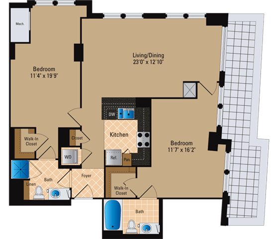Floor Plan  2 Bedroom, 2 Bath 1180 SF B25
