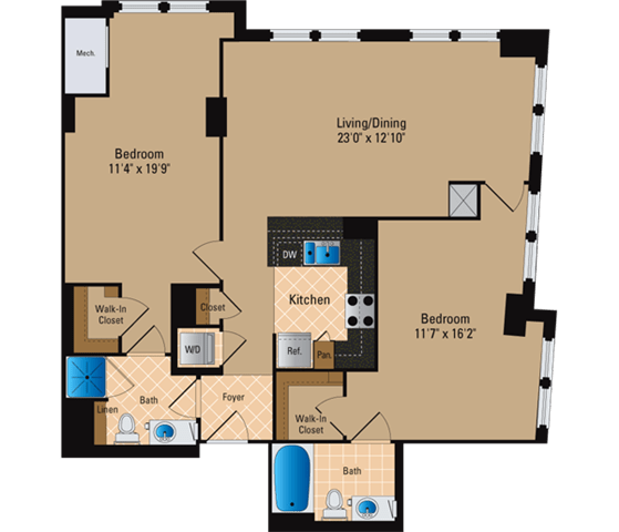 Floor Plan  2 Bedroom, 2 Bath 1180 SF B26