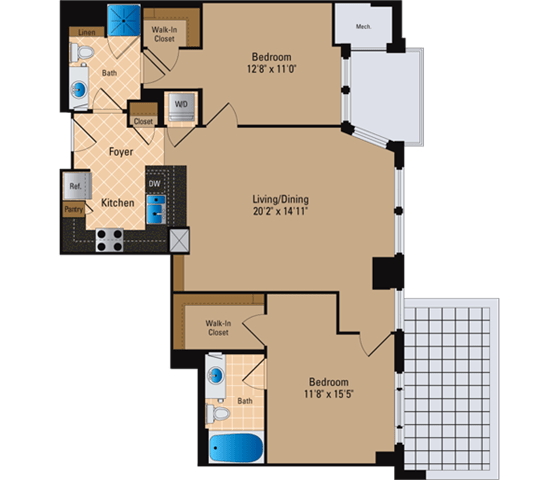 Floor Plan  2 Bedroom, 2 Bath 1072 SF B2